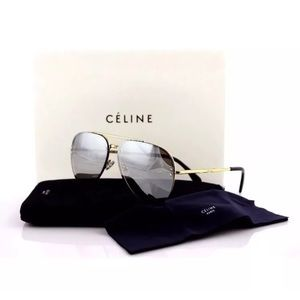 695aea0490a0 Celine Accessories - Celine CL41391 S J5G SS Gold Silver Mirror Aviator